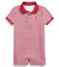 Ralph Lauren Baby Boys Sunrise Red Gingham Polo Shortall