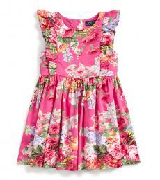 Ralph Lauren Little Girls Pink Floral Ruffled Dress