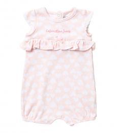 Calvin Klein Baby Girls Pink Logo Ruffled Romper