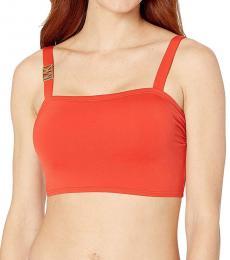 Michael Kors Orange Logo Solids Bralette Bikini Top