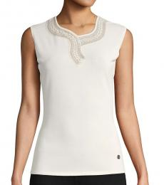 Roberto Cavalli White Embroidered Sleeveless Top