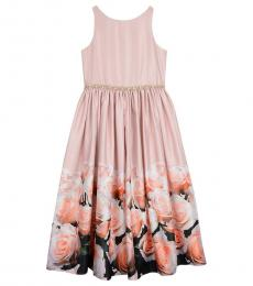 Badgley Mischka Girls Blush Floral-Print Satin Dress