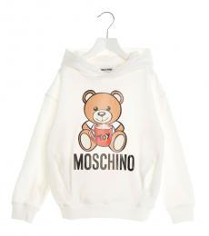 Moschino Little Girls White Teddy Hoodie
