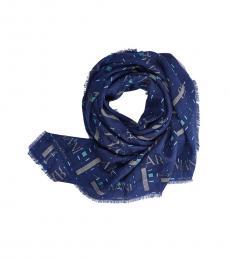 Armani Jeans Blue Fringe Logo Scarf