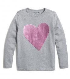J.Crew Girls Grey Foil Heart T-Shirt