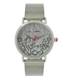 Silver Glitter Mesh Bracelet Watch