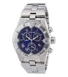 Roberto Cavalli Silver Blue Dial Watch