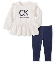 Calvin Klein 2 Piece Tunic/Leggings Set (Baby Girls)