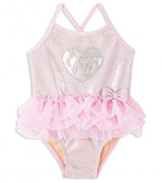 Juicy Couture Little Girls Pink Ruffled One-Piece Swimsuit