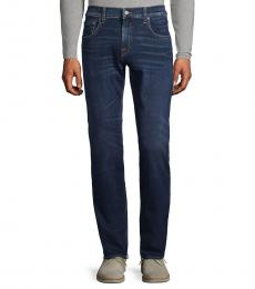 7 For All Mankind Navy Blue Classic Straight-Fit Jeans