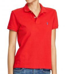 Ralph Lauren Red Classic Fit Mesh Polo Shirt