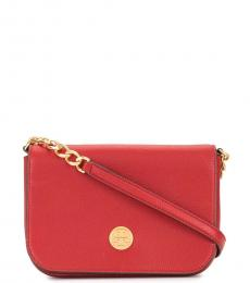 Tory Burch Red Apple Mason Flap Small Crossbody Bag
