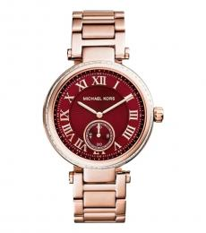 Michael Kors Rose Gold Skylar Red Dial Watch