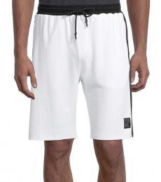 White Regular-Fit Logo Track Shorts