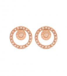 Rose Gold Circle Halo Stud Earrings