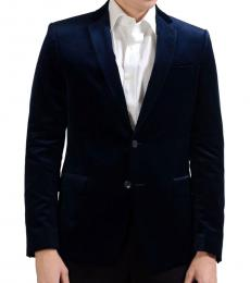 Versace Collection Navy Two Button Velour Blazer