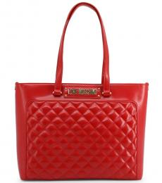 Red Quilted Large Tote