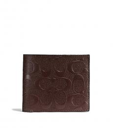 Coach Mahogany Compact ID 3-In-1 Leather Wallet