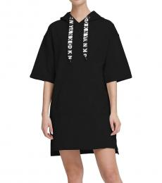 DKNY Black Sport Logo Hoodie Dress