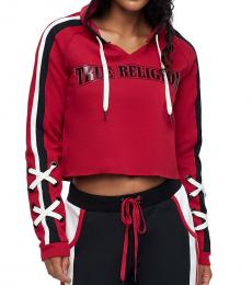 True Religion Ruby Red Laced Logo Pullover Hoodie