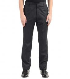 Dolce & Gabbana Grey Wool Striped Dress Pants