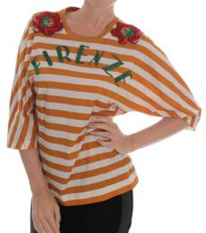 White Striped Floral Top