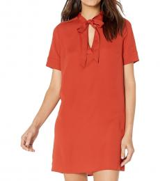 BCBGMaxazria Rustic Tie Neck Woven Dress