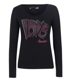 Love Moschino Black Embellished Logo Top