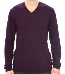 Purple Rayon V Neck Sweater