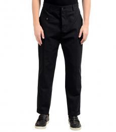 Dolce & Gabbana Black Wool Striped Dress Pants