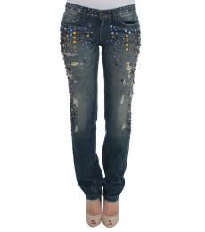 Dolce & Gabbana Blue Crystal Embellished Jeans