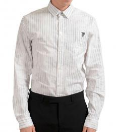 White Striped Logo Casual Shirt