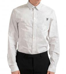 Versace Jeans White Striped Logo Casual Shirt
