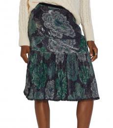 Grey/Green Kaffe Fassett Print Pleated Skirt