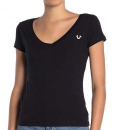 Black Big Horseshoe V-Neck T-Shirt