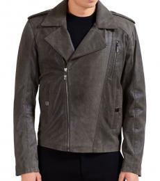 Grey Leather Full Zip Jacket