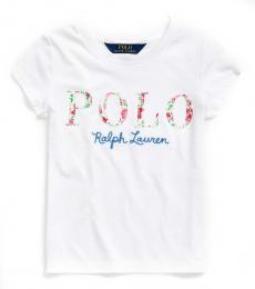 Ralph Lauren Little Girls White Logo T-Shirt