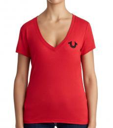 Ruby Red Embellished Logo V-Neck Tee
