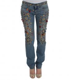Dolce & Gabbana Blue Rose Embellished Jeans