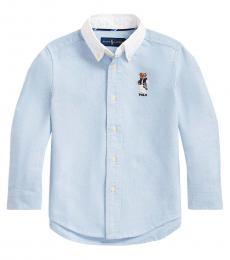 Ralph Lauren Little Boys Blue Football Bear Shirt