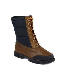 Ralph Lauren Tan Navy Quinlyn Boots