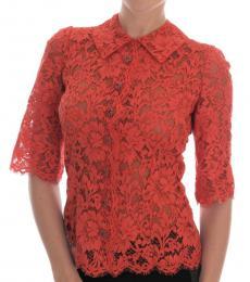 Dolce & Gabbana Coral Button Lace Shirt