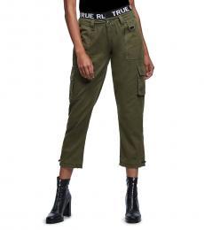 True Religion Military Green Logo Trim Utility Pant