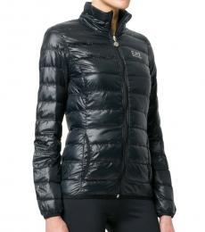 Emporio Armani Black Feather Down Logo Print Puffer Jacket