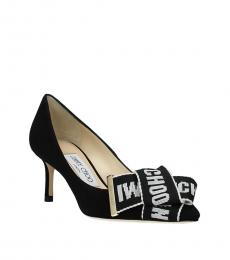 Jimmy Choo Black Front Logo Bow Heels
