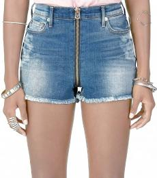 Denim Blue High Rise Cut Off Shorts
