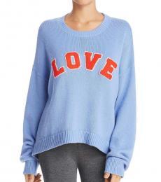 Tory Burch Light Blue Cashmere Blend Graphic Sweater