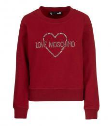 Love Moschino Maroon Logo Pullover