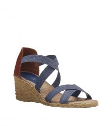 Ralph Lauren Blue Cortney Espadrille Wedges