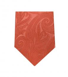 Michael Kors Orange Modern Paisley Slim Silk Tie